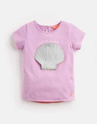 Joules MAUVE SHELL Chomp Novelty Applique T-Shirt 1-6 Yr Size 6yr