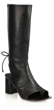 Drum Tall Leather Open-Toe Boots