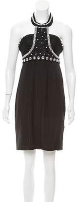Rachel Gilbert Embellished Halter Knee-Length Dress