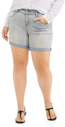 Rock & Stone Women's Plus Super Stretch Cuffed Denim Short