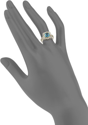 Charles Krypell Sterling Silver, 14K Two-Tone Gold, Blue Topaz & Diamond Ring