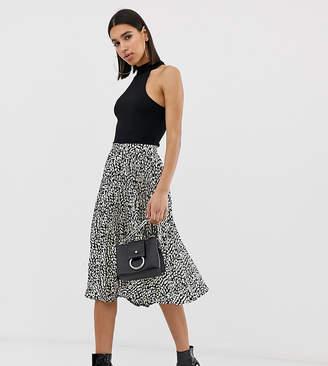 Missguided pleated midi skirt in spot print