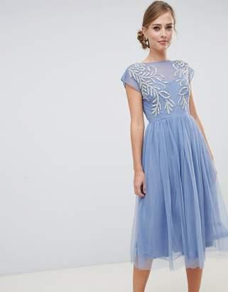 Asos DESIGN embellished open back tulle midi dress