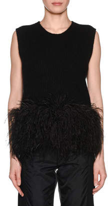 No.21 No. 21 Scoop-Neck Wool Feather Tank