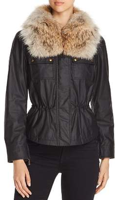 Belstaff Guilford Fur-Trim Short Waxed Cotton Jacket