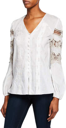 Elie Tahari Leigha V-Neck Long-Sleeve High-Low Blouse with Lace & Embroidery