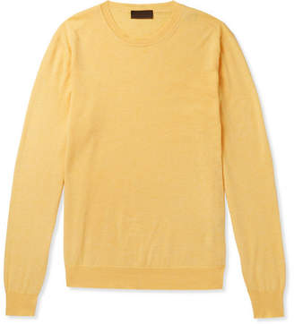 Altea Cotton And Cashmere-blend Sweater - Yellow