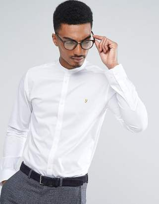 Farah Shirt With Grandad Collar In Slim Fit With Stretch