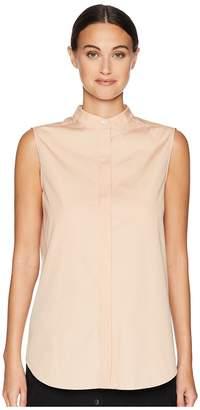 Jil Sander Navy Sleeveless Shirt w/ Korean Neckline and Hidden Buttons Women's Sleeveless