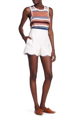 Club Monaco Harpose Eyelet Trim Faux Leather Shorts
