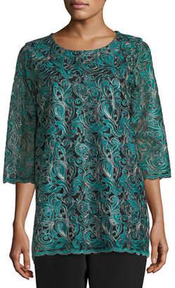 Caroline Rose Plus Size Lux Embroidered Tunic