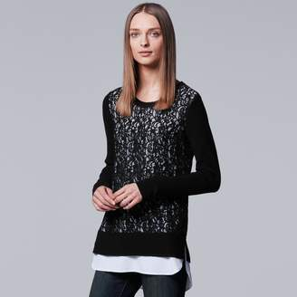 Vera Wang Women's Simply Vera Mock-Layer Lace Sweater
