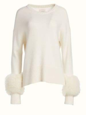 Cinq à Sept Anje Fur-Trimmed Wool-Blend Sweater