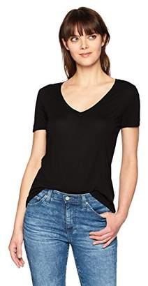Three Dots Women's Vintage Jersey Loose Short v-Neck tee