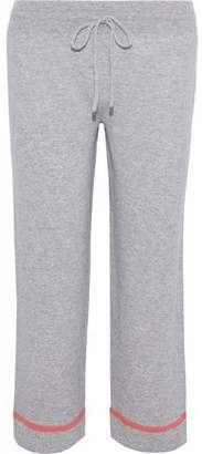 Chinti and Parker Cropped Mélange Cashmere Track Pants