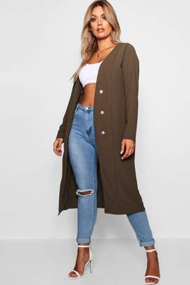 boohoo Plus Maddie Crepe Button Down Duster