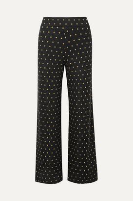 Stine Goya Magic Mervidelux Metallic Embroidered Polka-dot Knitted Wide-leg Pants - Black