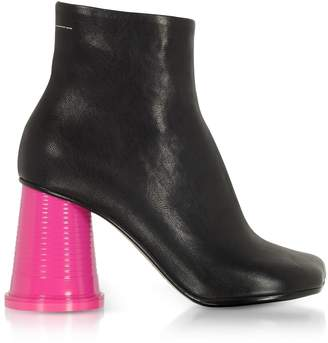 MM6 MAISON MARGIELA Mm6 Maison Martin Margiela Black Leather Ankle Boots W/pink Cup Heels