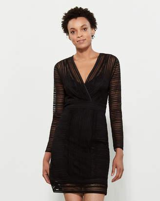BCBGMAXAZRIA Lace V-Neck Long Sleeve Dress