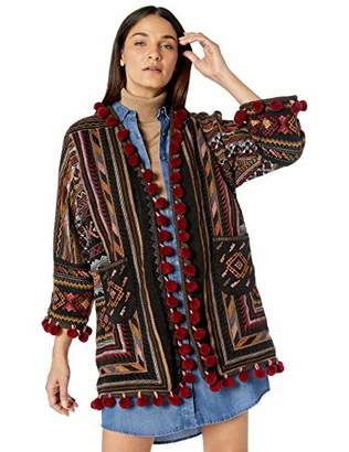 Johnny Was Biya by Women's Embroidered Kimono Cardigan Sweater with Poms