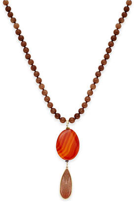 Paul & Pitu Naturally Gold-Tone Rust-Colored Stones Beaded Pendant Necklace