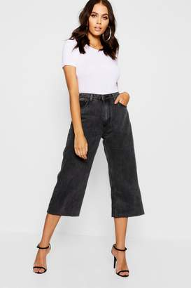boohoo High Waist Wide Leg Cropped Jeans