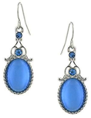 1928 Jewelry Silver-Tone Sapphire Crystal and Blue Cat Eye Oval Drop Earrings