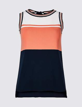 Marks and Spencer Colour Block Tie Back Sleeveless Jumper