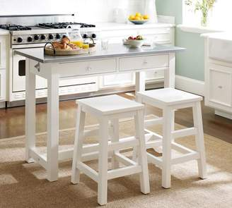Pottery Barn Balboa Counter-Height Table & Stool 3-Piece Dining Set, White