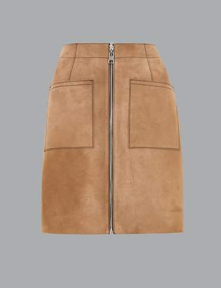 Marks and Spencer Suede Zip Detail Reversible Mini Skirt
