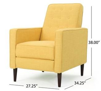 Noble House Mercury Mid Century Modern Fabric Recliner,Yellow