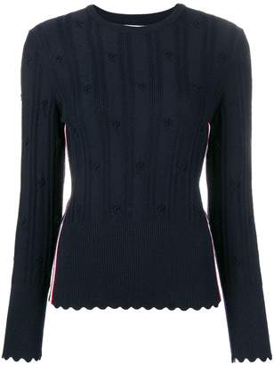 Thom Browne Flower Cable Navy Pullover