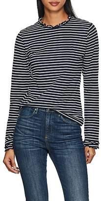 Derek Lam 10 Crosby Women's Striped Ruffled Cotton T-Shirt