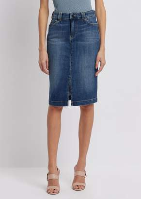Emporio Armani Worn-Effect Denim Pencil Skirt