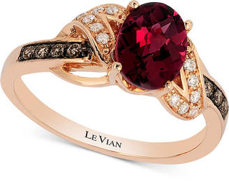 LeVian Le Vian Raspberry Rhodolite (1-1/2 ct. t.w.) & Diamond (1/8 ct. t.w.) Ring in 14k Rose Gold