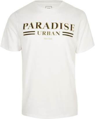 Mens Big and Tall White print slim fit T-shirt