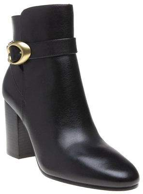 Coach New Womens Black Delaney Leather Boots Ankle Buckle Zip