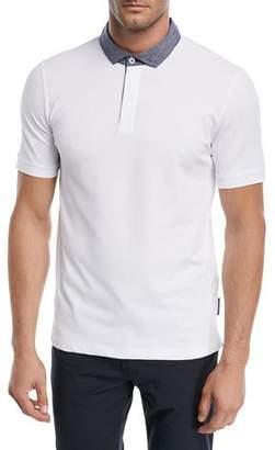 Emporio Armani Contrast-Collar Piqué Polo Shirt