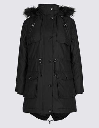 Marks and Spencer PETITE Faux Fur Padded Parka with StormwearTM