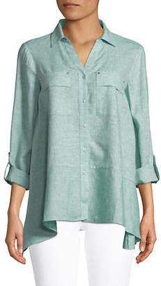 Jones New York Handkerchief Hem Linen Shirt