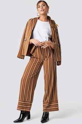 Na Kd Classic Tie Waist Striped Wide Pants Brown