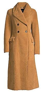 Burberry Women's Levesham Double-Breasted Long Shearling Coat