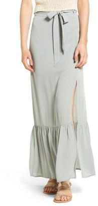 Women's Sun & Shadow Ruffle Hem Woven Maxi Skirt $59 thestylecure.com