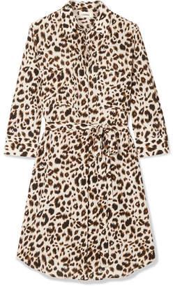 L'Agence Stella Belted Leopard-print Silk Mini Dress