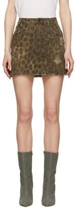 R 13 Brown Denim Leopard High-Rise Miniskirt