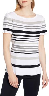 Ming Wang Stripe Knit Top