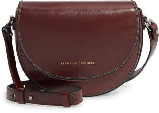 Brunello Cucinelli Leather Half Moon Crossbody Bag