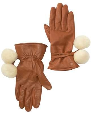 UGG Brita Genuine Shearling Pompoms Smart Gloves