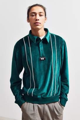 Lazy Oaf Velour Stripe Long Sleeve Polo Shirt