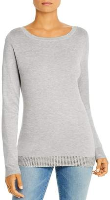 Sioni Embellished-Hem Boatneck Sweater